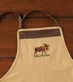 Moose Embroidered Apron