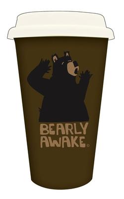 Bearly Awake Ceramic Double Wall Mug w/Silicone Lid 10 oz.