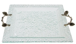 Glass Square Tray-Pine Cone Branch