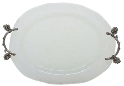 Pinecone Branch Frosted Oval Tray - Large
