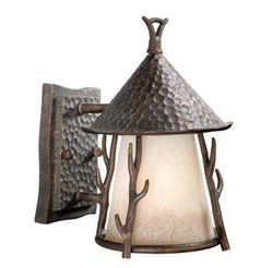 Woodland Outdoor Wall Sconce - 7 inch - Light Autumn Patina