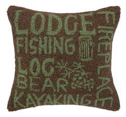 Lodger's Paradise Script Hooked Pillow