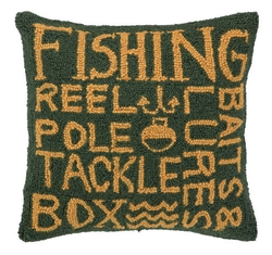 Fisherman's Paradise Hooked Pillow