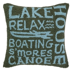 Lakehouse Paradise Script Hooked Pillow