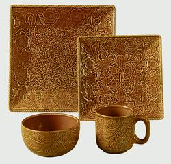 Savannah 4 Piece Place Settings - Mustard