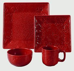 Savannah 4 Piece Place Settings - Red