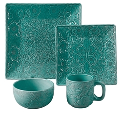 Savannah 4 Piece Place Settings - Turquoise