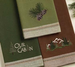 Our Cabin Embroidered Dishtowel - Set of 2