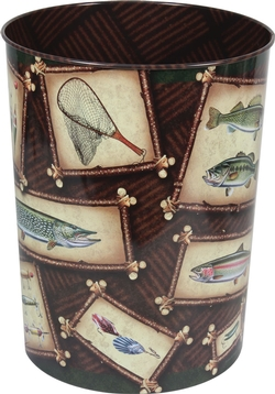 Fishing Tin Wastebasket