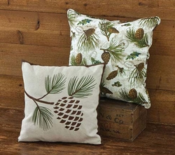 Embroidered Pinecone Pillow