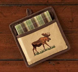 Moose Potholder and Towel Set