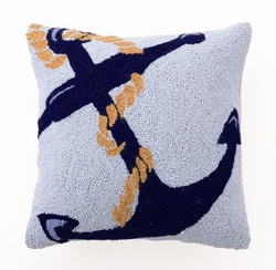 Blue Anchor Hooked Pillow
