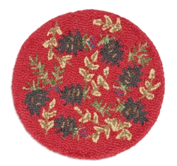 Ruby Pine Cones Chair Pad - Set of 4