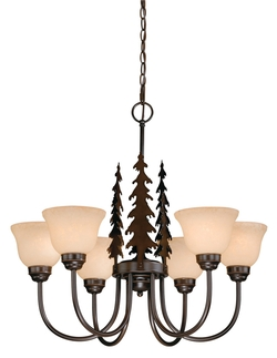 Six Light Up Lighting Chandelier with Pine Trees from the Yosemite Collection, Burnished Bronze