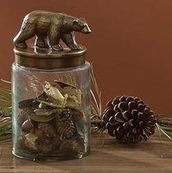 Rustic Bear Glass Canister Jar - Small