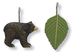 Black Bear and Leaf  Shower Curtain Hooks - Set of 12 Hooks