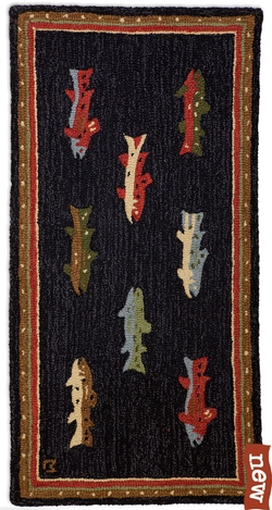 River Fish 2' x 4' Hooked Rug