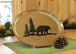 Woodland Stoneware Bear Platter