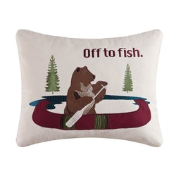 Off to Fish Embroidered Pillow