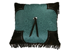 Scalloped Edge Pillow - Turquoise