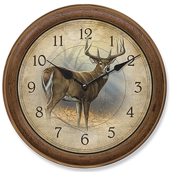 Wildlife Deer - In His Prime - Round Clock - 11