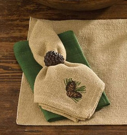 Burlap & Pine Napkin - Set of 2