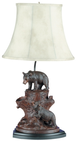 Bears on a Tree Stump Lamp