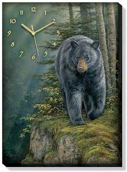 Canvas Clock Rocky Outcrop Bear