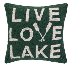 LIVE, LOVE, LAKE, Hooked Pillow