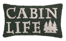 Cabin Life Dark Green Hooked Pillow