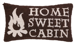 HOME SWEET CABIN Hooked Pillow