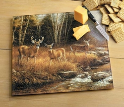 Whitetail Deer Glass Cutting Board or Trivet