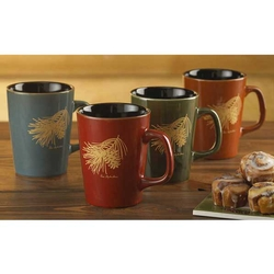 Pinecone Stoneware Mugs - Set of 4