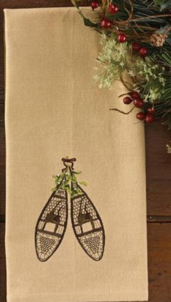 Snowshoe Embroidered Dish Towel