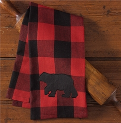 Buffalo Check Bear Dish Towel