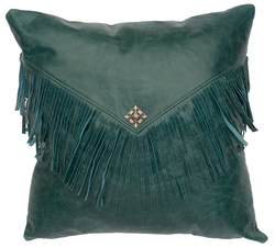 Peacock Leather Accent Pillow