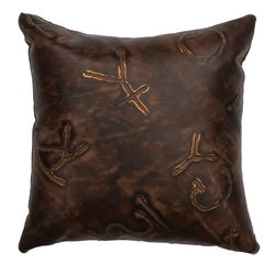 Branded Leather Pillow - 16