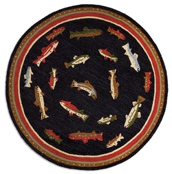 Swimming Fish  5' Round Rug