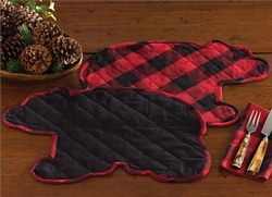 Buffalo Check Bear Shaped Placemat