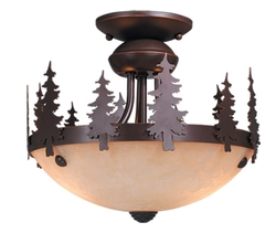 Rustic Semi-flush Ceiling Mount or Ceiling Fan Light Kit-Yellowstone, Bozeman, Yosemite, Bryce