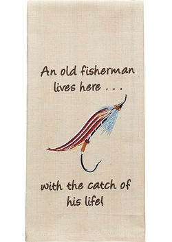 An Old Fisherman Lives Here Towel