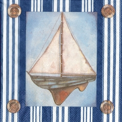 Marina Sail Boat Cocktail/Beverage Napkin