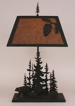 Pine Tree Lamp and Bear with Pinecone Shade