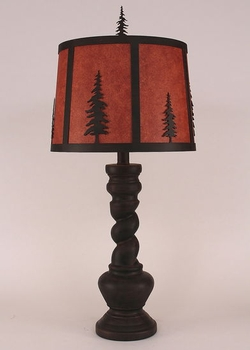 Twisted Base Pine Tree lamp with Shade