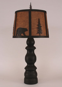 Kodiak Bear and Pine Tree Shade with Lamp