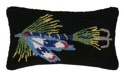 Fishing Lure Blue Hooked Pillow
