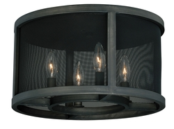 Warm Pewter Wicker Park 4 Light Flush Mount Indoor Ceiling Fixture