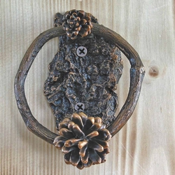 Lodgepole Ring Door Knocker With Bark Base