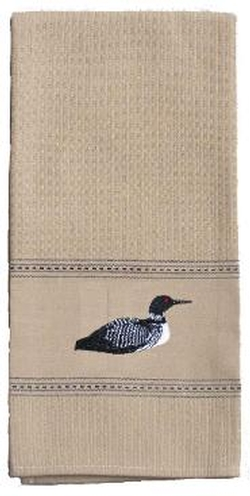 Embroidered Loon Towel