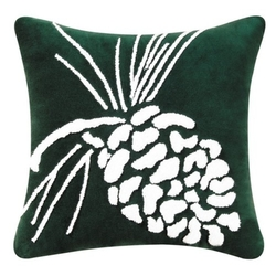 Pinecone On Green Tuft Pillow - 18